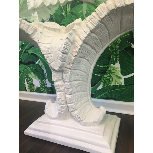 Hollywood Regency Sculptural Palm Leaf Console Table and Mirror After Serge Roche & Dorothy Draper For Sale - Image 3 of 9