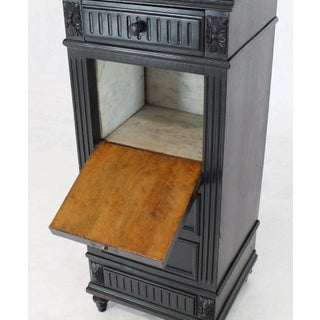 1990s Edwardian Marble Top Ebonized Black Four-Drawer Barber Stand Preview