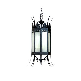 Late 19th Century Black Wrought Iron Octagonal Lantern For Sale