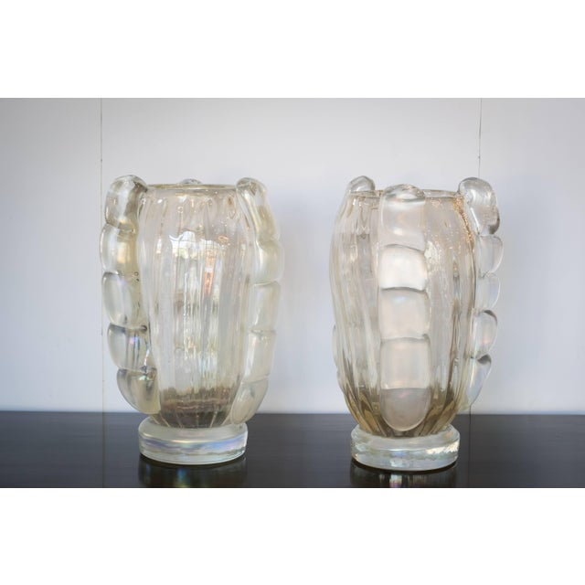 Italian Ribbed Murano Vases by Sergio Costantini, Pair For Sale - Image 3 of 9