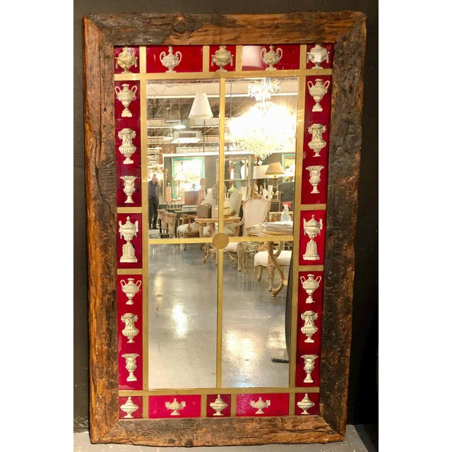 2000 - 2009 Rustic Italian Wall Mirror With Reverse Painted Classical Vases and Urns For Sale - Image 5 of 13
