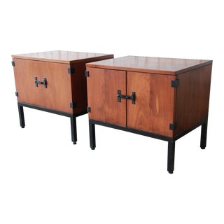 Kipp Stewart for Directional Mid-Century Modern Walnut Nightstands or Side Tables - a Pair