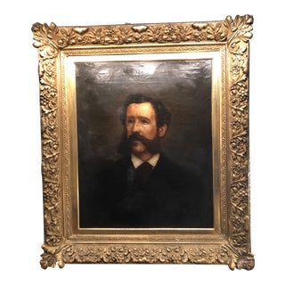Circa 1870 Portrait of a Gentleman in a Gilt Frame For Sale