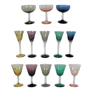Set of 13 Pieces Multi Color Stemware in Three Sizes With Twisted Clear Stems For Sale