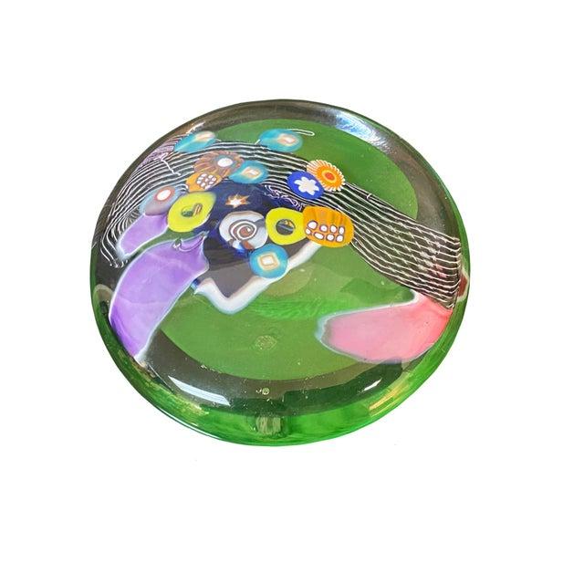 Contemporary Millefiori Design Contemporary Hand Blown Glass Disk For Sale - Image 3 of 6