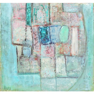 'Abstract in Rose and Blue', 1920's Paris Modernist, Guggenheim International Award For Sale
