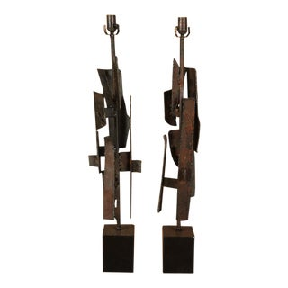 Pair of Brutalist Iron Lamps For Sale