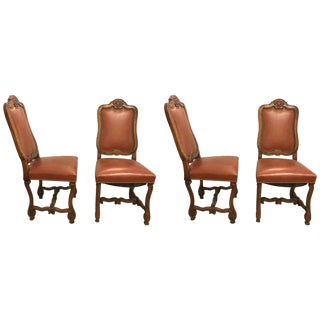 Set of Four Rococo Leather Side Chairs For Sale