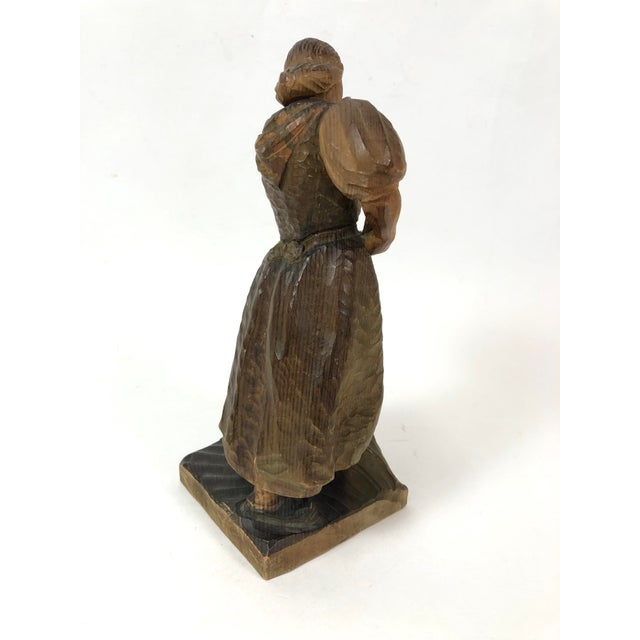 Art Deco Carved Wood Sculpture of Woman With Rake For Sale - Image 4 of 7