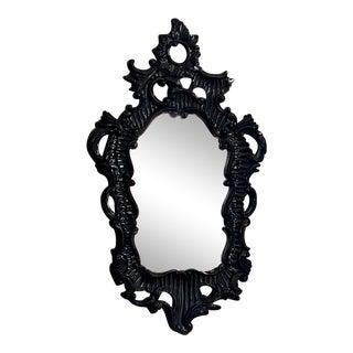 Mirror Image Black Lacquer Mirror For Sale