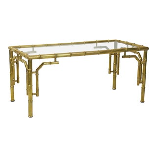 Mid-Century Italian Brass Faux Bamboo Cocktail Table