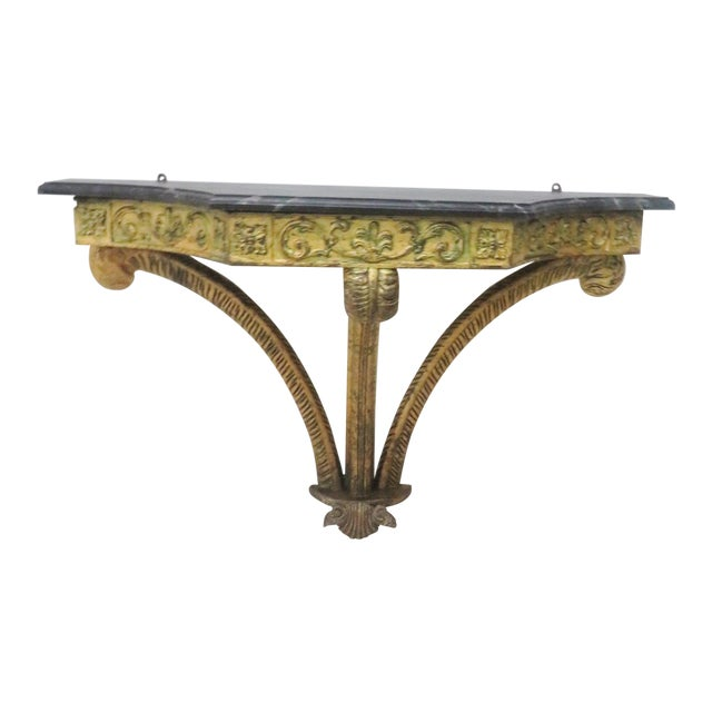 French Style Gilt Carved Faux Marbletop Hanging Shelf For Sale