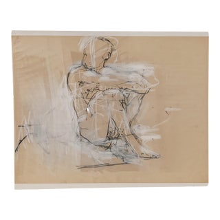 Charcoal and Chalk Figurine Drawing Art by Santiago For Sale