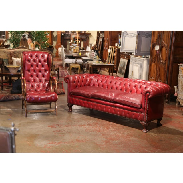 Wood Large Midcentury Three-Piece English Chesterfield Set With Armchairs and Sofa For Sale - Image 7 of 10