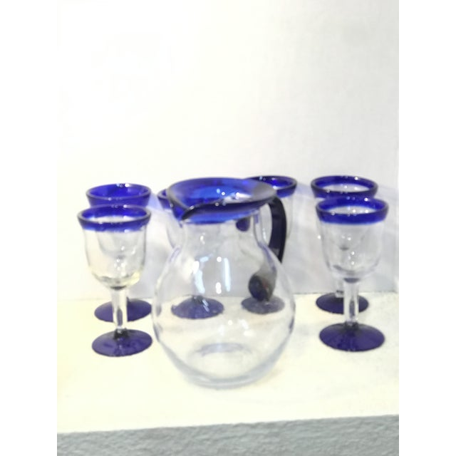 Modern Vintage Mexican Blown Glass Cobalt Blue Rim Pitcher and Goblets - Set of 7 For Sale - Image 3 of 7