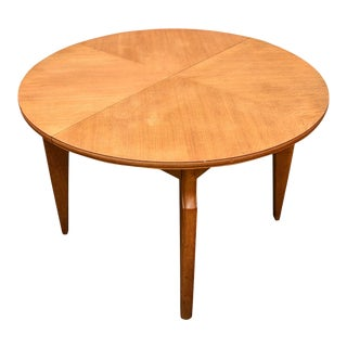Round Oak Extendable Dining Table For Sale