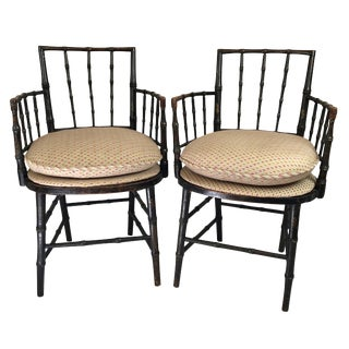 19th Century Chinoiserie Faux Bamboo Armchairs- A Pair For Sale