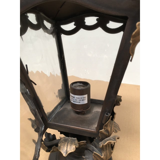 2010s Hand Forged Wrought Iron Post Mount For Sale - Image 5 of 8