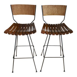 Vintage Mid Century Arthur Umanoff Jute Rope Rush Wrought Iron Swivel Stool- A Pair For Sale