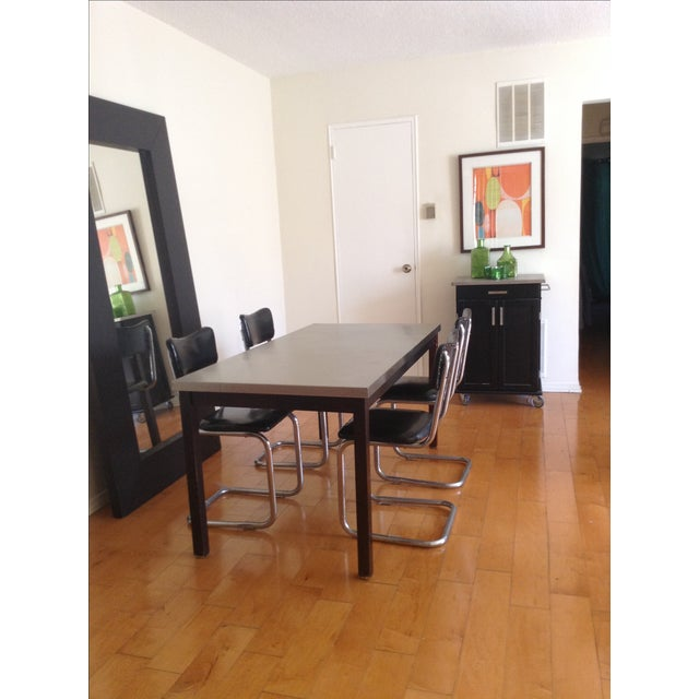 ZGallerie Metal Top Dining Table & Cantilever Chairs Dining Set - Image 2 of 8