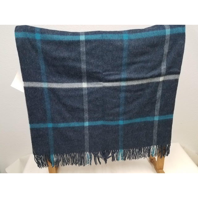 English Merino Wool Throw Blue and Aqua - Made in England For Sale - Image 3 of 9