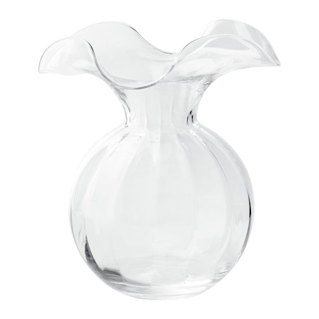 Kenneth Ludwig Chicago Vietri Clear Hibiscus Fluted Vase from Kenneth Ludwig Home For Sale - Image 4 of 4