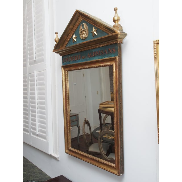 Mid 19th Century Polychrome and Gilt Pediment Form Mirror For Sale - Image 5 of 8
