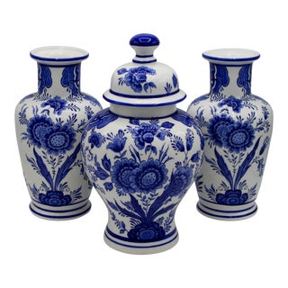 Mid-20th Century Blue and White Floral Dutch Delft Ginger Jar and Vase Set For Sale
