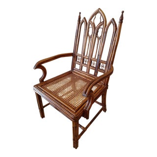 Vintage Gothic Styled Bent Rattan Armchair For Sale