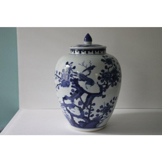 Chinoiserie Blue & White Porcelain Bird Jar - Image 2 of 5