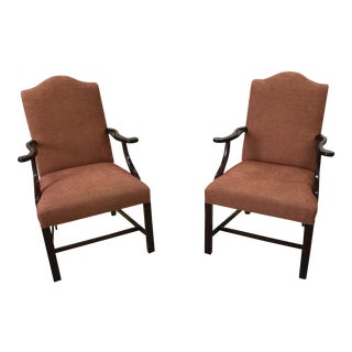Late 20th Century Queen Ann Style Arm Chairs - a Pair For Sale