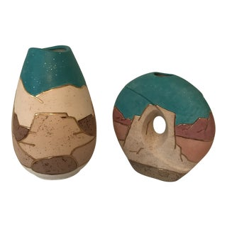 1980s Canadian Mesa Indian Pottery Vases - a Pair For Sale