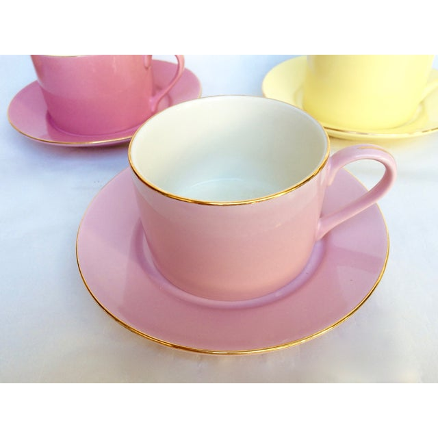 Sherbet-Hued Teacups & Saucers - Set of 6 - Image 5 of 10