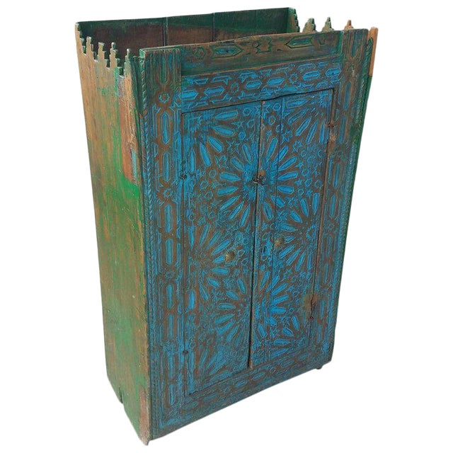 Antique Moroccan Turquoise Wooden Cabinet For Sale