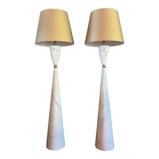 Pair of Large Marble & Brass Mid Century Modern Floor Lamps, Italy 1980s For Sale