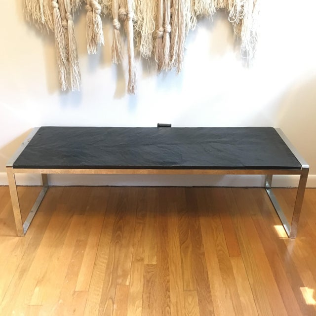 Beautiful stainless steel bench/coffee table with thick textured slate top.