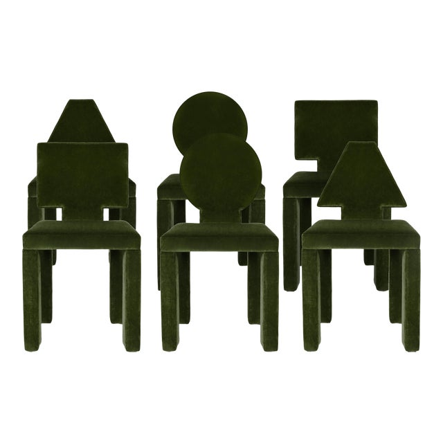 Contemporary Dining Chairs in Moss Cotton Velvet - Set of 6 For Sale