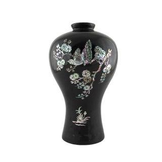 Vintage Korean Black Lacquer Over Brass Vase For Sale