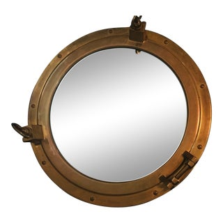 Vintage Nautical Brass Porthole Mirror/Secret Cabinet For Sale