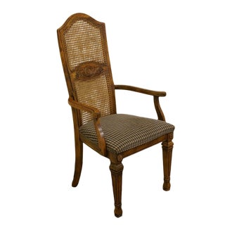 Stanley Furniture French Country Fruitwood Cane Back Dining Arm Chair For Sale
