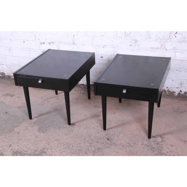 Merton Gershun for American of Martinsville Ebonized End Tables or Nightstands, Pair For Sale - Image 13 of 13