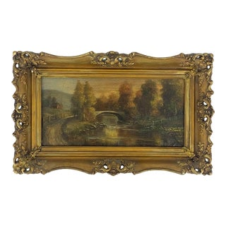 Antique Landscape Painting Signed and Framed For Sale