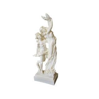 Hand Carved God Mythology Apollo & Daphne Nude Greek Roman Alabaster Sculpture For Sale