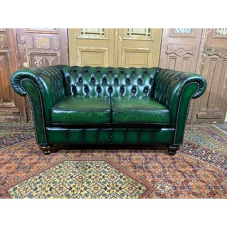Vintage English Mid-Century Green Leather Chesterfield 2 Seat Sofa Preview