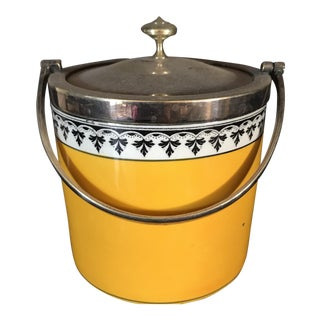 Antique English Yellow and Silver Biscuit Barrel