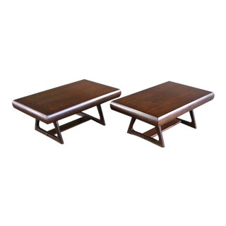 Mid Century Modern Architectural Walnut End Tables For Sale