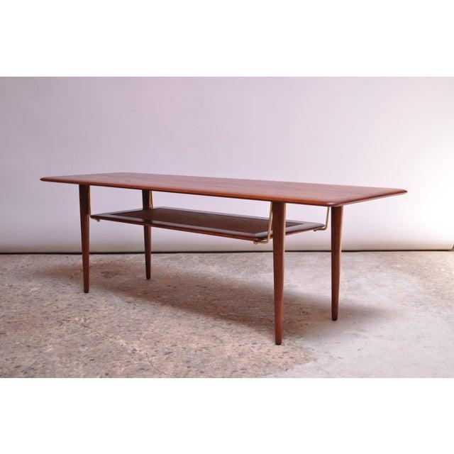 France & Daverkosen Peter Hvidt & Orla Mølgaard Nielsen Teak and Cane Coffee Table For Sale - Image 4 of 13