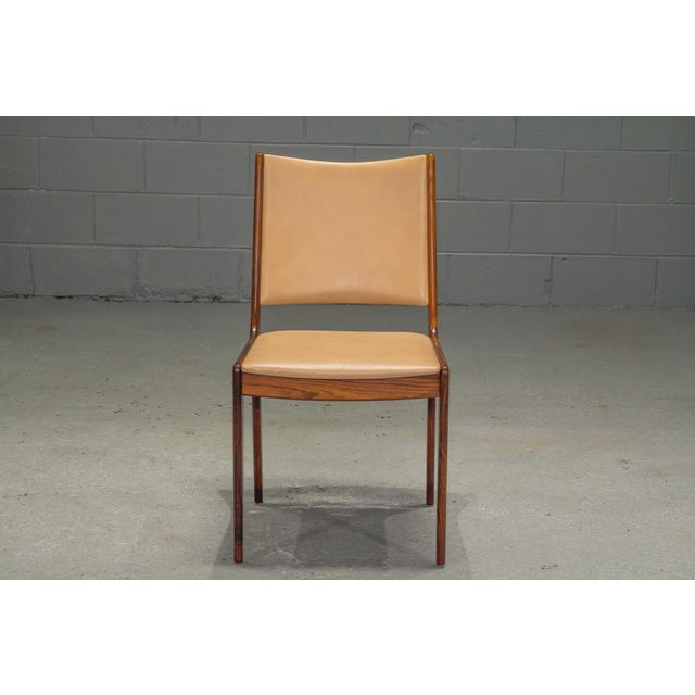 Mid-Century Modern 1960s Vintage Danish Modern Rosewood & Leather Dining Chairs- Set of 4 For Sale - Image 3 of 13