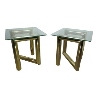 1970s Hollywood Regency Karl Springer Style Tubular Brass and Glass Zig-Zag End Tables - a Pair For Sale
