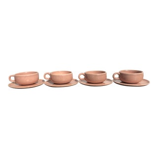 Russel Wright American Modern Coral Teacups and Saucers - Set of 8 For Sale